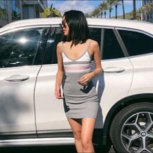 Grey ribbed bodycon dress